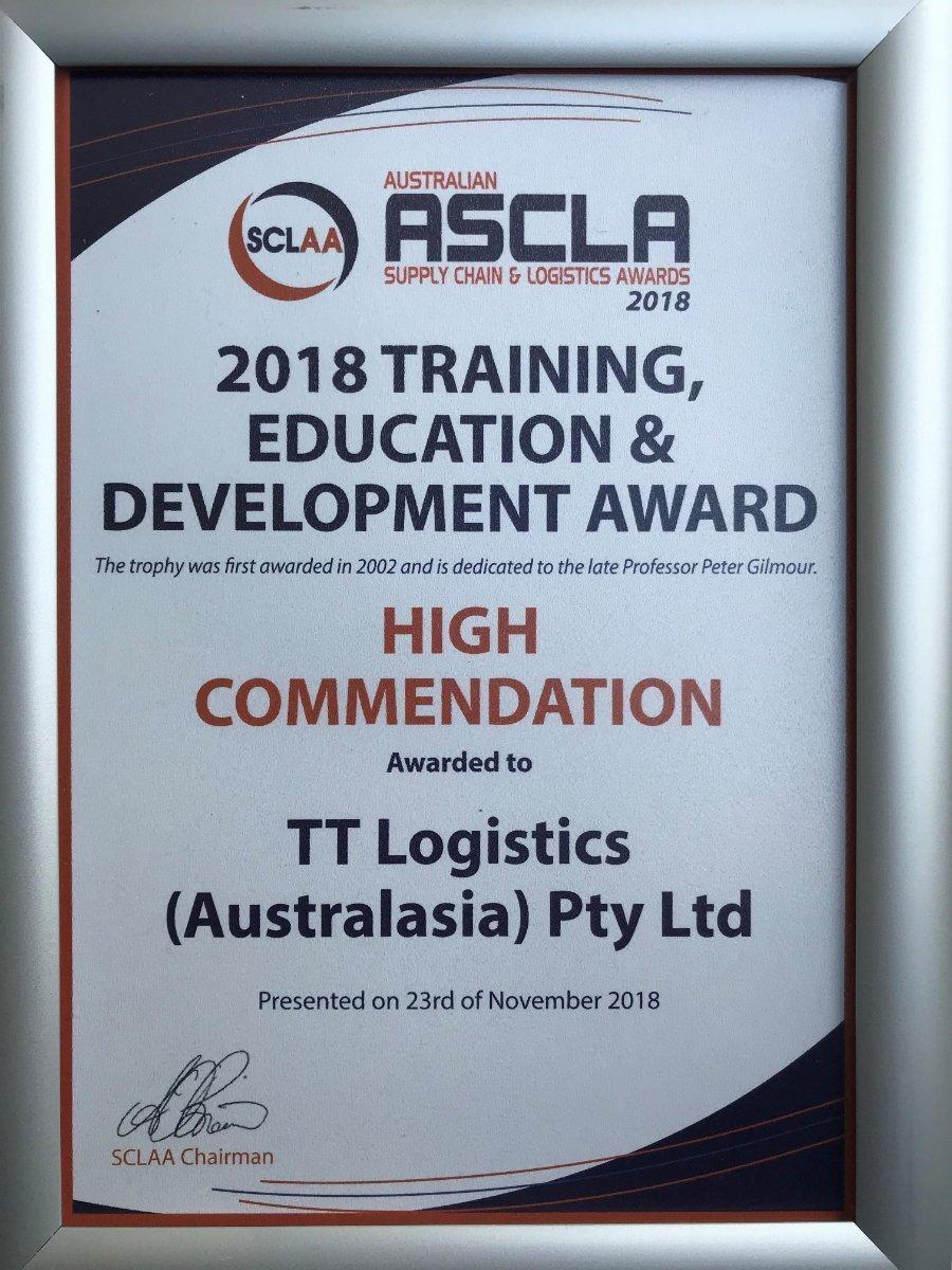2018 Training Education Development Award